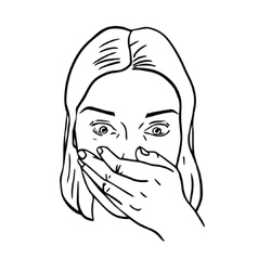 Portrait of surprised or amazed woman vector image