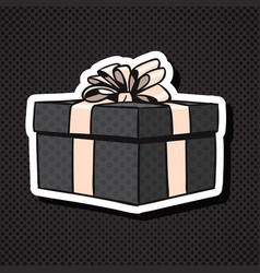 realistic gift box icon with bow and ribbon on vector image