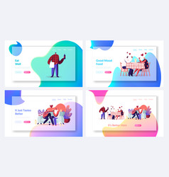Romantic dating website landing page set web page vector