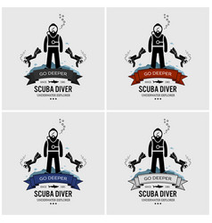 scuba diving logo design artwork of scuba diver vector image