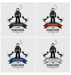 scuba diving logo design artwork scuba diver vector image