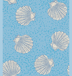 Seamless pattern with shells of scallops vector