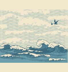 Seascape with hand-drawn sea waves in retro style vector