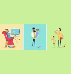 set of fatherhood theme concept vector image