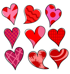 set of hand draw red and pink heart symbol on vector image