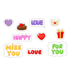 set of love sticker flat and cartoon style vector image
