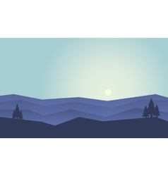 Silhouette of hill flat at sunset vector