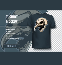 skull in theatrical mask template mock-up for vector image