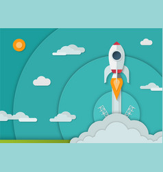 Space rocket launch in paper art style a4 size vector