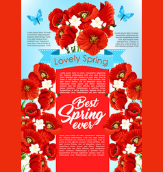 Spring time flowers for greeting poster vector