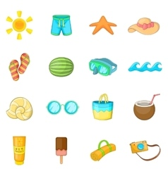 Summer items icons set cartoon style vector
