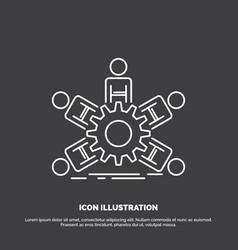 team group leadership business teamwork icon line vector image