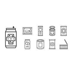 Tin can icon set outline style vector