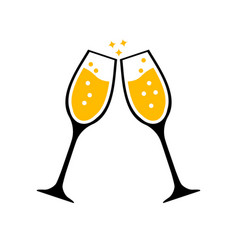 Two glasses clink together congratulations vector