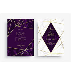 two save date card template geometric design vector image