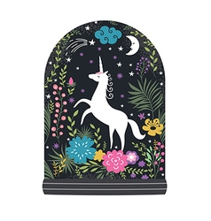 Unicorn with flowers fantasy vector