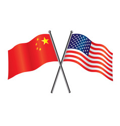 usa and china flags crossed alliance vector image