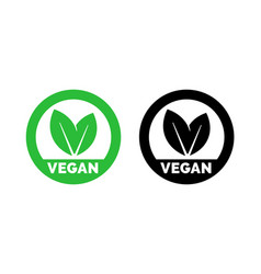 Vegan label vegetarian food green leaf icon vector