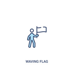 Waving flag concept 2 colored icon simple line vector