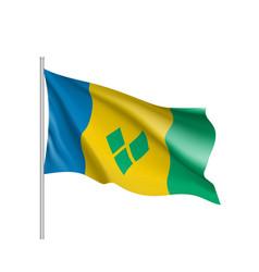 waving flag of saint vincent vector image