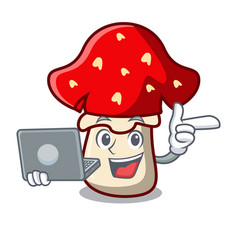 With laptop amanita mushroom character cartoon vector