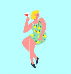 woman sitting alone celebrating drinking a glass vector image