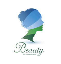 womans head stylized profile skin care and womans vector image