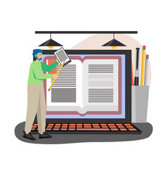 young man student with tablet studying vector image