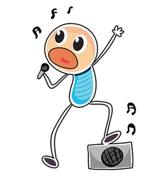 A sketch of a boy with a microphone and a speaker vector image