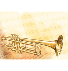 Brass Trumpet on musical background vector image vector image
