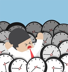 Businessman drowning in clock vector