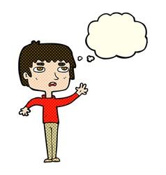 Cartoon unhappy boy waving with thought bubble vector