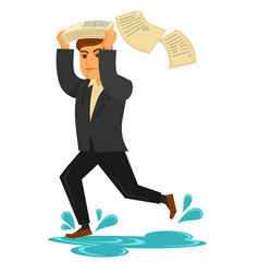 man in suit runs under rain and cover his head vector image