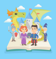 open book with castle and characters of fairytale vector image