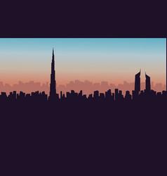 silhouette of burj khalifa city building vector image
