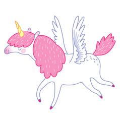 white flying unicorn vector image vector image