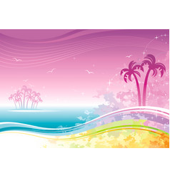 beach sea poster landscape hawaiian luau party vector image