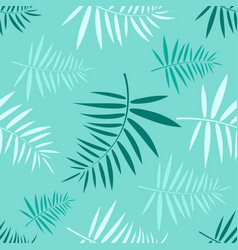 Seamless pattern with the green tropical leaves vector