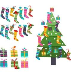 Stylized Santa socks gifts and Christmas tree on vector image vector image