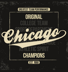 chicago sportswear emblem athletic university vector image