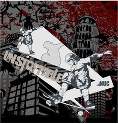 urban background with skater vector image vector image
