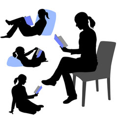 woman reading book silhouettes vector image