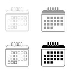 calendar the black and grey color set icon vector image vector image