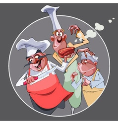 cartoon three funny cooks prepared food vector image