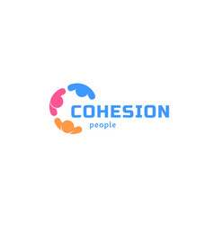 cohesion people abstract isolated logo vector image vector image