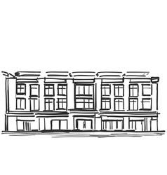 hand draw sketch of school building vector image