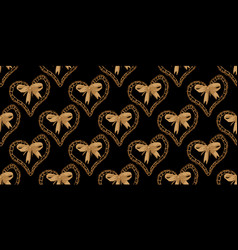 seamless pattern with heart and bow vector image
