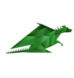 abstract origami green dragon isolated on white vector image