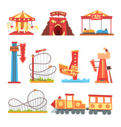 Amusement park elements set funfair attraction vector