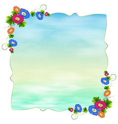 An empty template with blooming flowers vector image